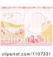 Clipart Girls Baby Nursery Decorated In Pink Royalty Free Vector Illustration