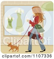 Clipart Woman Walking Her Pooch And Window Shopping With Coffee In Hand Royalty Free Vector Illustration by Amanda Kate #COLLC1107336-0177