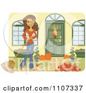 Clipart Happy Brunette Caucasian Woman Raking Leaves In Her Yard Royalty Free Vector Illustration by Amanda Kate