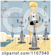 Happy Blond Woman Using Her Mp3 Player While Using A Spin Bike At The Gym