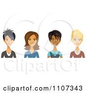 Clipart Asian Hispanic Black And Caucasian Female Business Women Avatars Royalty Free Vector Illustration by Amanda Kate #COLLC1107343-0177