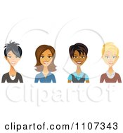 Clipart Asian Hispanic Black And Caucasian Female Business Women Avatars Royalty Free Vector Illustration