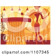 Clipart Woman Reaching For Wine On A Counter As Others Dance In A Night Club Royalty Free Vector Illustration by Amanda Kate
