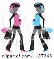 Clipart Pregnant Women Shown In Black And Pink And Blue With Shopping Bags Royalty Free Vector Illustration