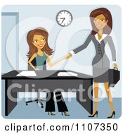 Clipart Two Women Shaking Hands While Meeting For A Job Interview Royalty Free Vector Illustration by Amanda Kate #COLLC1107350-0177