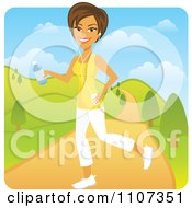 Clipart Happy Brunette Woman Jogging In A Park With An Mp3 Player Royalty Free Vector Illustration