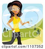 Clipart Happy Hispanic Woman Jogging In A Park With An Mp3 Player Royalty Free Vector Illustration by Amanda Kate #COLLC1107352-0177