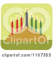 Clipart Lit Kwanzaa Candles On Green Royalty Free Vector Illustration by Amanda Kate