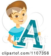 Happy School Boy Holding A Letter A