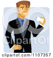 Clipart Handsome Caucasian Businessman Smiling And Holding A Business Card Over Blue Royalty Free Vector Illustration