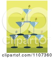 Pyramid Of Stacked Martini Glasses And Olives Over Gradient Green