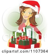 Clipart Happy Mother Holding Christmas Presents And Wearing A Santa Hat Royalty Free Vector Illustration by Amanda Kate