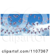Clipart 3d American Flag Bunting Banners Against A Sky 1 Royalty Free CGI Illustration