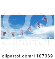 Clipart 3d American Flag Bunting Banners Against A Sky 2 Royalty Free CGI Illustration
