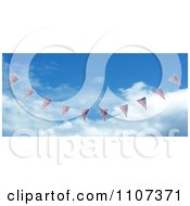 Clipart 3d American Flag Bunting Banners Against A Sky 3 Royalty Free CGI Illustration