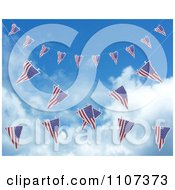 Clipart 3d American Flag Bunting Banners Against A Sky 4 Royalty Free CGI Illustration