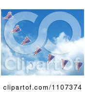 Clipart 3d American Flag Bunting Banners Against A Sky 5 Royalty Free CGI Illustration