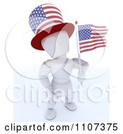 Clipart 3d American White Character Wearing A Top Hat And Holding An Independence Day Flag 1 Royalty Free CGI Illustration