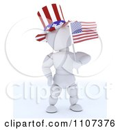 Clipart 3d American White Character Wearing A Top Hat And Holding An Independence Day Flag 2 Royalty Free CGI Illustration