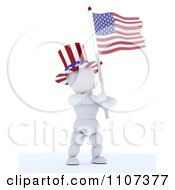 Clipart 3d American White Character Wearing A Top Hat And Holding An Independence Day Flag 3 Royalty Free CGI Illustration
