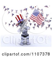 3d Patriotic Robot Wearing A Top Hat And Waving An American Flag Under Buntings 1