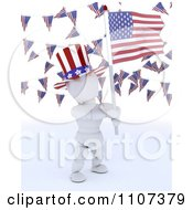 Clipart 3d American White Character Wearing A Top Hat And Holding An Independence Day Flag Under Buntings Royalty Free CGI Illustration
