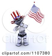 3d Patriotic Robot Wearing A Top Hat And Waving An American Flag 1
