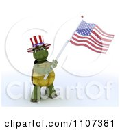 Clipart 3d Tortoise Wearing A Top Hat And Waving An American Flag 1 Royalty Free CGI Illustration