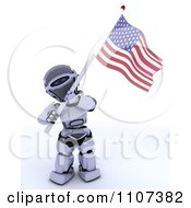 Clipart 3d Patriotic Robot Wearing A Top Hat And Waving An American Flag 2 Royalty Free CGI Illustration