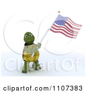3d Tortoise Wearing A Top Hat And Waving An American Flag 2