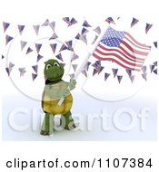3d Tortoise Wearing A Top Hat And Waving An American Flag Under Buntings