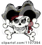 Clipart Jolly Roger Pirate Skull And Cross Bones With A Hat Royalty Free Vector Illustration by visekart #COLLC1107394-0161