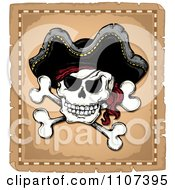 Clipart Jolly Roger Pirate Skull And Cross Bones With A Hat On Parchment Royalty Free Vector Illustration by visekart