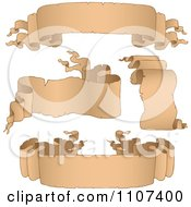 Clipart Antique Parchment Ribbon Banners 2 Royalty Free Vector Illustration