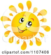 Clipart Cheerful Sun Character Smiling Royalty Free Vector Illustration