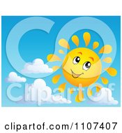 Clipart Cheerful Sun Character Smiling In A Sky Royalty Free Vector Illustration