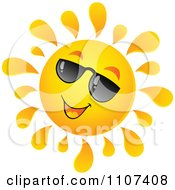 Clipart Cheerful Sun Character Wearing Shades And Smiling Royalty Free Vector Illustration