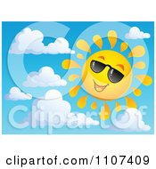 Clipart Cheerful Sun Character Smiling And Wearing Shades In A Sky Royalty Free Vector Illustration