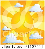 Clipart Orange Sun With Rays And Clouds Royalty Free Vector Illustration by visekart