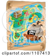 Clipart Pirate Treasure Map On Aged Parchment 2 Royalty Free Vector Illustration
