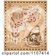 Clipart Pirate Treasure Map On Parchment Royalty Free Vector Illustration