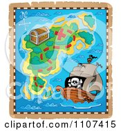 Clipart Pirate Treasure Map On Aged Parchment 3 Royalty Free Vector Illustration