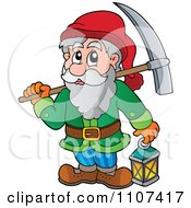 Clipart Miner Dwarf Carrying A Pickaxe And Lantern Royalty Free Vector Illustration by visekart