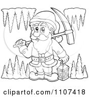 Clipart Outlined Miner Dwarf Carrying A Pickaxe And Lantern In A Cave Royalty Free Vector Illustration by visekart