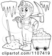 Clipart Outlined Happy Miner In A Cave Royalty Free Vector Illustration by visekart