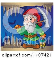Clipart Miner Dwarf Carrying A Pickaxe And Lantern In A Cave With Bats Royalty Free Vector Illustration by visekart
