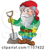 Clipart Garden Dwarf Digging Royalty Free Vector Illustration