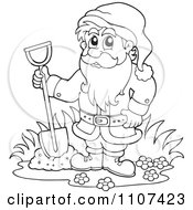 Clipart Outlined Garden Dwarf Digging Royalty Free Vector Illustration