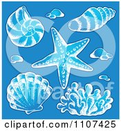 Clipart Sketched Sea Shells On Blue Royalty Free Vector Illustration by visekart