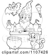 Clipart Outlined Cat Watching A Happy Alchemist Wizard Make A Spell Royalty Free Vector Illustration by visekart